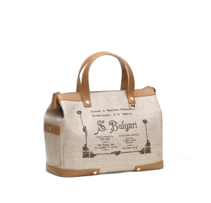 1910 collection handbag in canvas chevron and beige calf leather