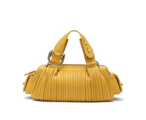 Leoni yellow nappa plisse bag